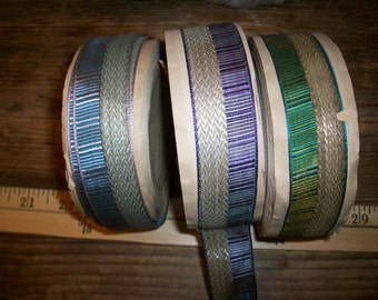 Antique silver lame ribbon with colors pattern fabulous