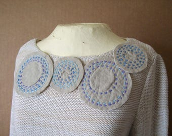 BORO Slow Stitch Patches, Embroidered Circles, set of 5