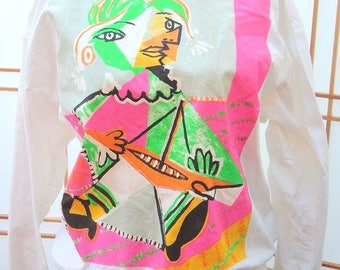 Vintage Women's Picasso by Aaahs! size M white made in USA Blouse Top Shirt Neon pullover popover