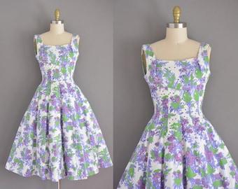 vintage 1950s dress. 50s Jerry Giden ribbed cotton floral print vintage dress