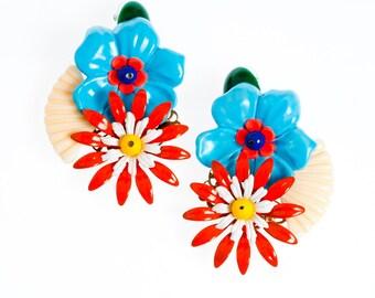 Fashion earrings, Colorful Showy Earrings , Huge Earring, Bold Flowers earrings, Unique Womens Bohemian Jewelry Party earrings