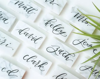 "Carrara Bianco Marble Tile Place Cards - Small 2""x1"" Escort Black or Gold Ink Calligraphy Cards"
