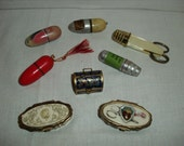 Vintage Sewing Kits.  Travel Kits.  Enamel Needle Cases.  Thimbles.
