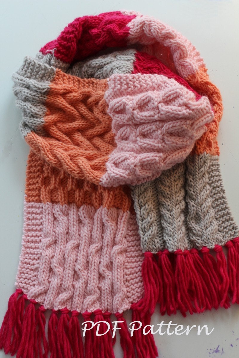 KNITTING PATTERN The Jane Scarf. Cable sampler oversized