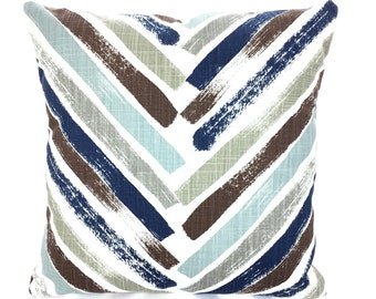 Navy Blue Brown Tan White Pillow Covers Decorative Throw Pillow Covers Cushions Regal Blue White Slub Canvas Chevron Couch Bed Various SIZES