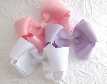 "Set of 4"" Girls Large Boutique Hair Bows Choose Your Colors"