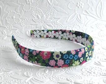 Girls Navy Blue Floral Fabric Covered Headband ~  Women / Adult Headband