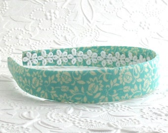 Aqua Fabric Covered Plastic Headband, Girls Adults Floral Fabric Headband