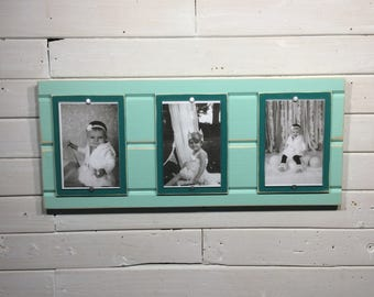 Distressed wood picture frame triple 4x6 teal and mint green