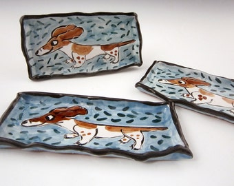 Ceramic Spoon Rest - Ceramic Tray - Black and Brown Pied Dachshund Wiener Dog - Pottery Tray Small - Majolica - Sushi Tray - Butter Dish