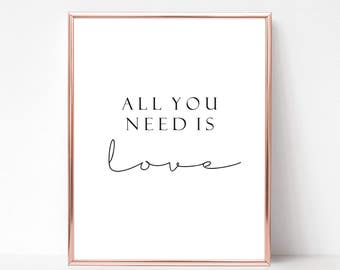 All you need is love, Modern wall art print, Printable digital,  Home decor, Scandinavian, Instant download,  Scandi style, Minimalist art