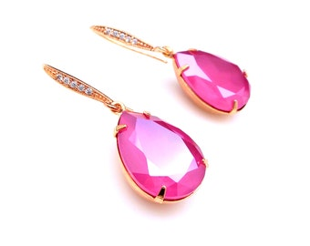bridal party bridesmaid gift prom Swarovski lacquer peony pink teardrop foiled crystal rhinestone cubic zirconia rose gold hook earrings