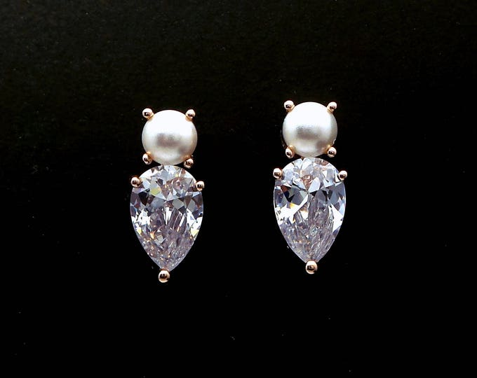 wedding bridal stud rose gold earrings jewelry gift prom party christmas teardrop clear white cubic zirconia white cream pearl stud post