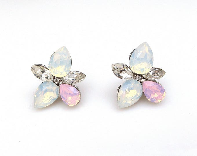 christmas prom bridal wedding bridesmaid gift Swarovski multi color shape fancy flower crystal rhinestone rhodium silver stud post earrings