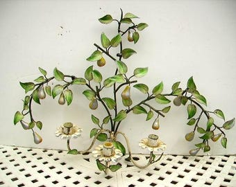 Shabby Chippy Vintage Large Italian Tole Pears Wall Sconce Candelabra