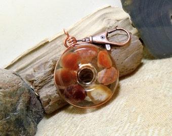 Lake Superior Agate Key Chain, Purse Clip, FOB, Rear View Mirror, Window, Sun Catcher, Copper, Heart 05 Stone in Resin