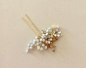Serenity Lila - Garden Hair Pin, Bridal Hair pin, l, slate gray blue and Gold, White and gold, Gilded hair pin