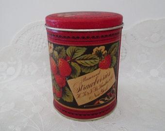 Vintage Small DECORATIVE TIN - tea, candy, fresh strawberries, Bristol Ware, Made in USA