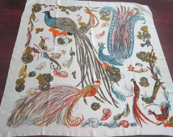 vintage silk scarf - Vanette Creations - BIRD pattern - hand rolled edges - 33 inches, light green background