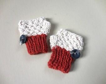 FINGERLESS MITTENS Newborn Baby Winter Mittens Gender Neutral Boy Girl Hand Warmers Stretch Knit Ivory Cream Rust Red Vintage Retro Handmade