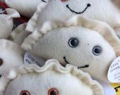 Felt Kawaii Pierogi Plush Toy/Ornament/Decoration (your choice of eye color)