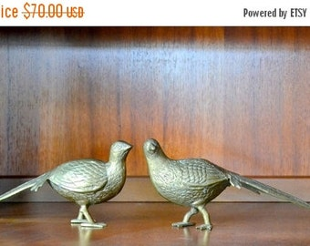 SALE 25% OFF vintage brass pheasant figurines