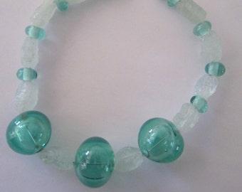 AQUAMARINE & GLASS - 13 Handmade Lampwork Glass Beads