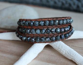 Labradorite Gemstone Wrap Bracelet, Wrap Bracelet, Labradorite Bracelet, Brown Leather Cord, Bohemian, Boho Chic, Gemstone Bracelet, Beads