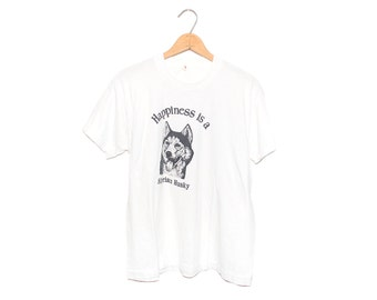 Vintage Happiness is a Siberian Husky White Screen Stars T-Shirt Made in USA - XL