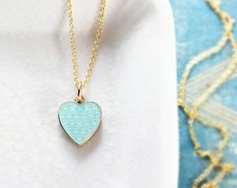 Tiny Blue Enamel Antique Gold Heart Locket Necklace, Extra Small Aqua Hued Solid 10K Yellow Gold Photo Pendant - Guilloche Water