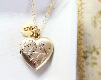 Gold Heart Locket Necklace, 14 Karat Gold Filled Bird Engraved Vintage Pendant with Initial Charm - Pair of Lovebirds