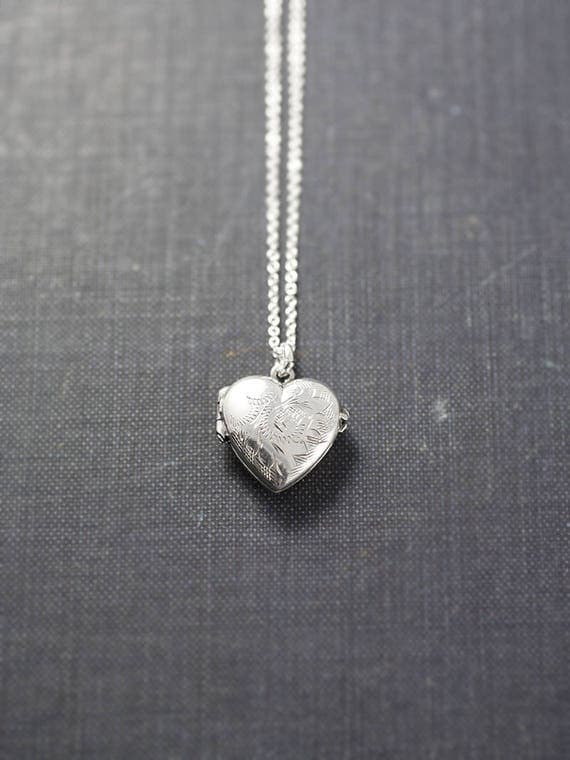 Tiny Silver Heart Locket Necklace, Extra Small Vintage Sterling Heart Photo Pendant - A Touch of Whimsy