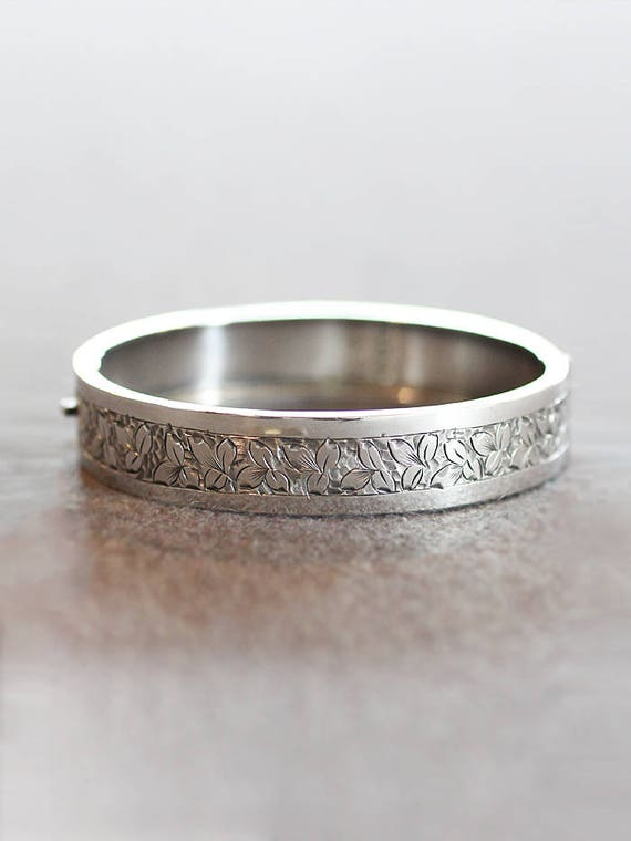 Antique 1884 Sterling Silver Bangle, Ivy Engraved Victorian Era Hallmarked Bracelet with Clasp - Affection