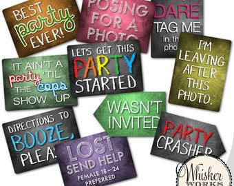 Plastic Photo Booth Phrases - PARTY MIX - Set of 5 signs