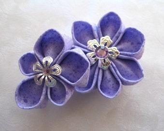 Violet Kanzashi Hair Flowers