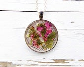 SALE Real Flower Pendant Necklace, jewelry, women, accessories, silver necklace, boho, floral, gift for her, botanical, charm, spring