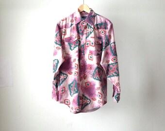 mens vintage NAVAJO IKAT southwestern 90s COTTON shirt