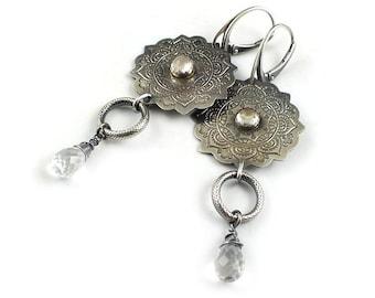 Crystal earring, long silver earring, etched silver ,metalwork jewelry, mandala earring
