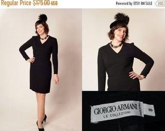 HALF PRICE SALE Vintage 1990s Giorgio Armani Dress - Lbd Black Wool - Winter Fashions