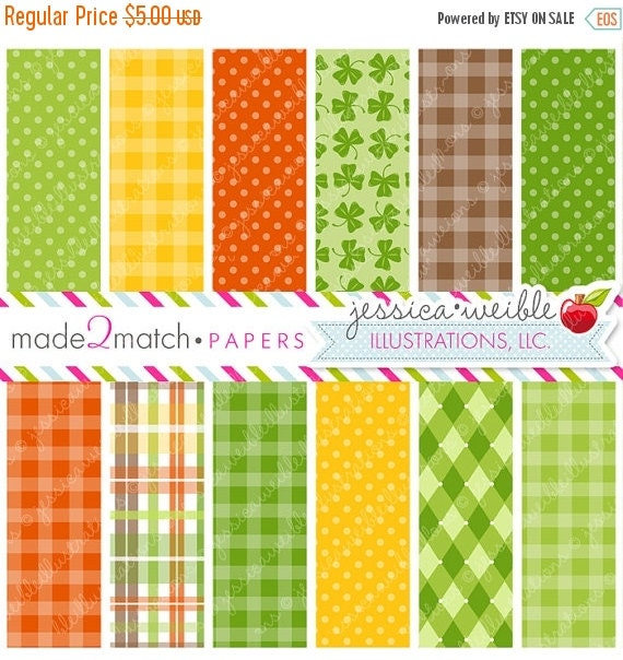 ON SALE Leprechaun Kids Cute Digital Papers - Commercial Use OK - St. Patrick's Day Digital Backgrounds