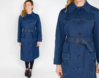 60s Navy Trench Coat | Belted Long Navy Blue Rain Coat | Large