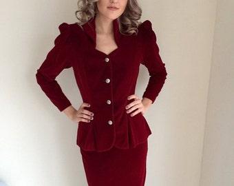 ON SALE vintage velvet suit/red velvet/claret / 1980s 80s 1940s 40s/ classic film noir/ ivanka trump/ size small CHRISTIAN