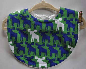 Baby Boy Green Navy Blue Moose Terry Cloth Snap Bib