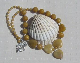 "Golden Jade Crystal Gemstone Heart Necklace ""Golden Harmony"". Jade Necklace, Heart Necklace, Yellow Necklace, Chakra Necklace, Summer"