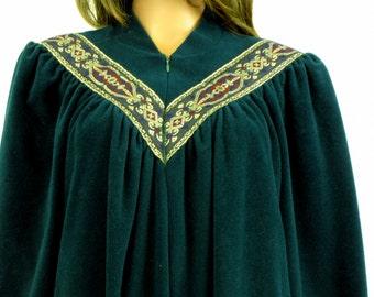 Vintage 1980s Vanity Fair Valour Hunter Green Robe Medium