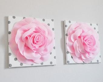 As pretty as a Photograph, Rose Flower Wall Hanging Set, Wall Pictures, Light Pink Nursery Art, Artwork, Baby Wall Art, Flower Arrangement