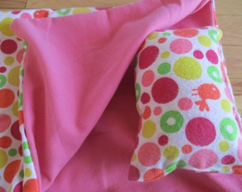 18 inch doll bedding, pink, green, orange polka dot sleeping bag for 18 inch dolls