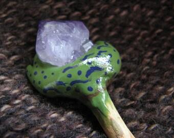 Amethyst crystal point | snail pin | chestnut wood | shawl pin | garden animals