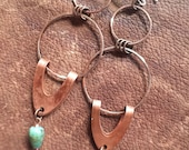 Dramatic Intervention, extra long chandelier copper earrings with australian bloodstone