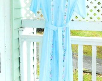 Vintage Plus Size Dresses Pale Blue Summer Dress Button down Summer Dress with Embroidery Women's Vintage Dresses